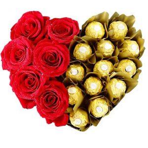 باکس ولنتاین گل رز و شکلات