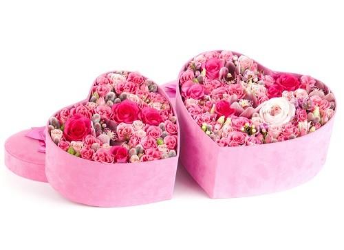جعبه گل رز صورتی ترکیبی