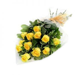 دسته گل رز هلندی زرد