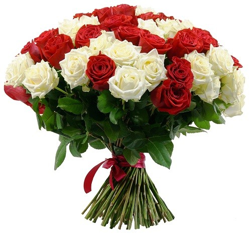 دسته گل سورپرایز قرمز و سفید