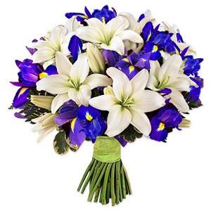 دسته گل لیلیوم آبی و سفید