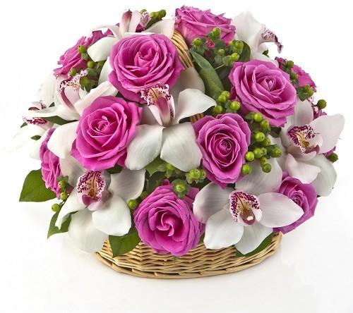 سبد رمانتیک گل رز و ارکیده
