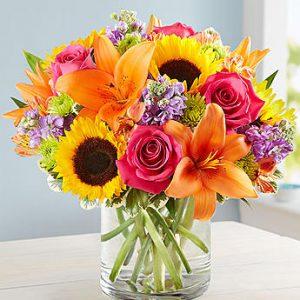 گلدان گل رنگارنگ