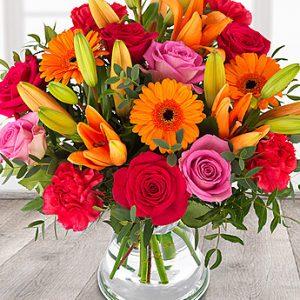 گل های ترکیبی رنگارنگ ( ارسال به انگلیس )